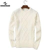 SHAN BAO 2017 Winter Thick Warm Sweater Men Luxury High Quality Diamond Pattern Round Neck Wool