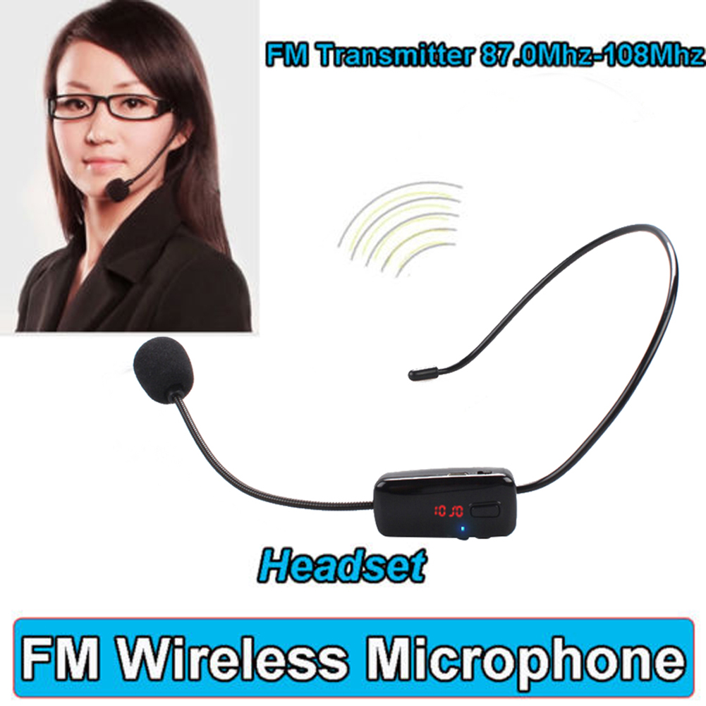 For Speaker Teacher Radio FM Wireless Headset Microphone Handsfree Megaphone Mic With LCD Digital Display