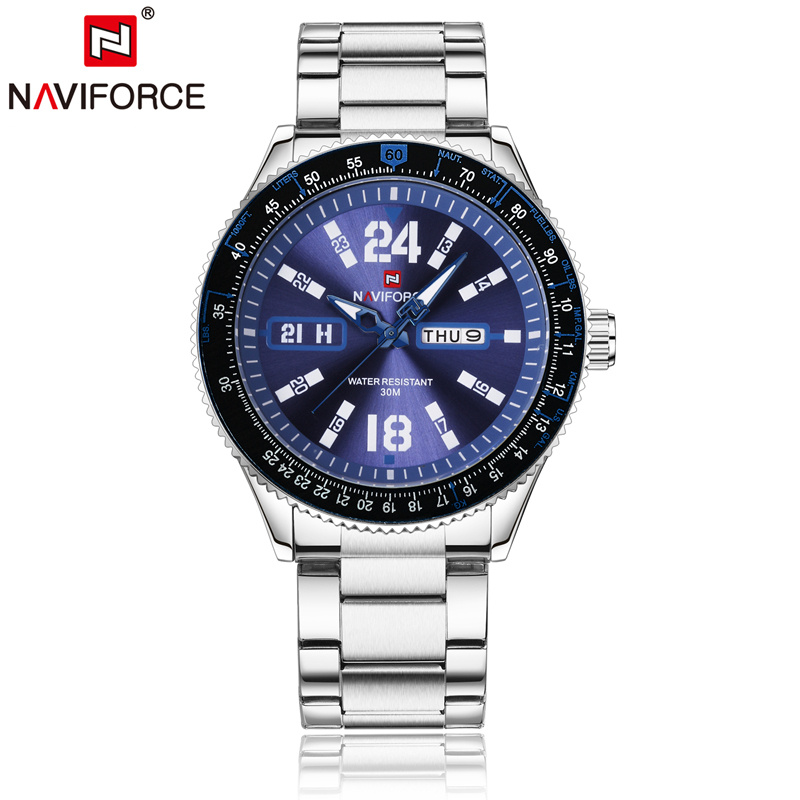 Naviforce Men Quartz Analog Watches Stainless Steel Bracelet Auto Date Day Week Luminous Hands Fashion Casual Wristwatch 9102 naviforce men silicone band wristwatches waterproof quartz analog display date day week wrist watch fashion casual watches 9107