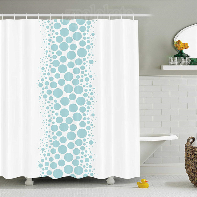 Under The Sea Shower Curtain Ocean Dive Inspired Image With Circle And Geometric Bubbles Art Print Fabric Bathroom Decor Set W