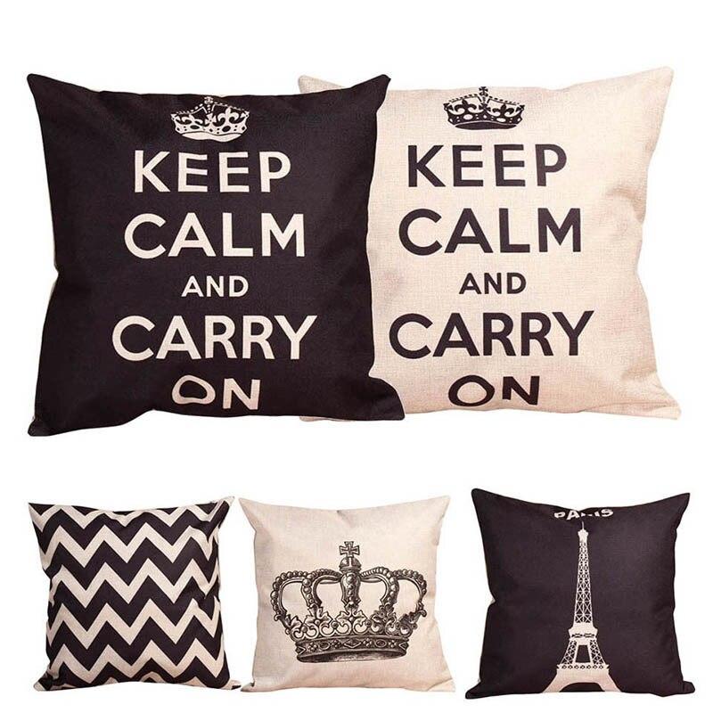 Retro Home Decorative Cotton Linen Blended Cushion Cover Crown Throw Pillow Case Paris Eiffel Black and White pillow case