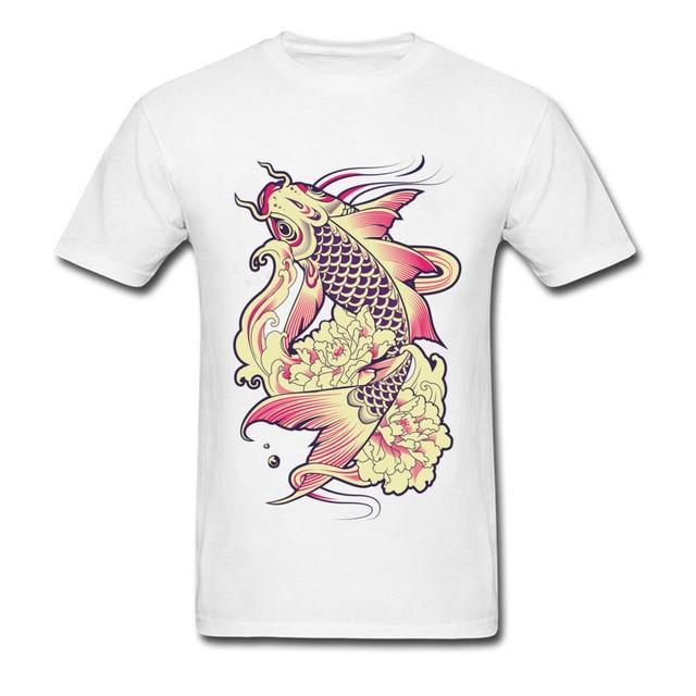 Koi Fish Illustration Printing Men T Shirt Summer Popular T Shirt