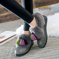 Winter and autumn winter rabbit fur boots plus velvet short thick tube snow boots flat - bottomed tassel student shoes