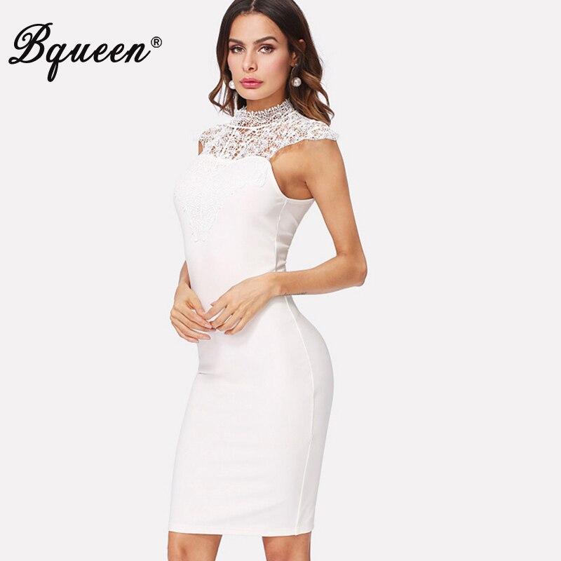 81f9a38c82e Bqueen 2019 Для женщин Белое платье без рукавов знаменитости вечерние платье  пикантные миди с ассиметричным низом