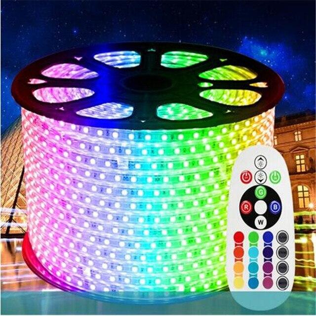 Weihnachten 10 m/roll 220 V LED Streifen 16 farbe RGB niedrigen power verbrauch hohe helligkeit 60led/m IP65 wasser beweis 5050 LED streifen