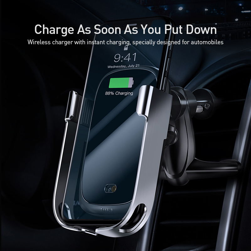Image 2 - Baseus 10w car qi wireless charger for iPhone X Samsung S10 S9 S8  car wireless charger intelligent infrared car mountCar Chargers   -