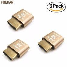FUERAN 4 K 3/Pcs Affichage Émulateur Plug Sans Tête Fantôme Émulateur Faux Affichage (Fit Headless-4K Nouvelle génération @ 60Hz) 3 PACK
