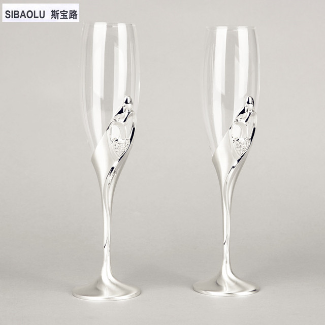Wine Gles Set Champagne Wedding With Crystal In Pair Flutes Toasting Goblet