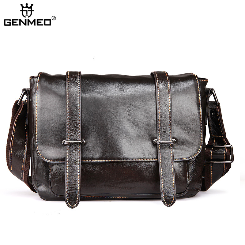 New Arrival Vintage Genuine Leather Shoulder Bag Men Cow Leather Handbags Retro Messenger Bag Coffee and Brown Color Tote Bags цены