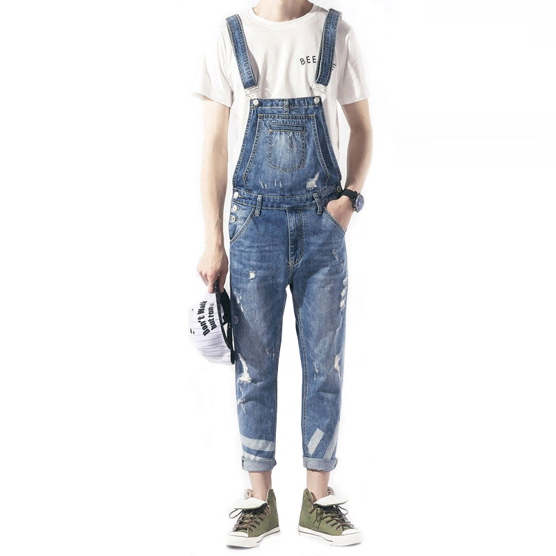 2019 New Fashion Brand Jeans Spring Trend Bib Male Korean Slim Siamese Cowboy Suspenders Japanese Feet Jeans Size  M L Xl -Xxl