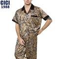 2016 осенью новый рукав шелк пижамы брюки костюм случайные Пижамы теплые и удобные мужские пижамы размер: L-XXL 60