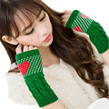 snowshine #1501  Fashion Women Fingerless Love Heart Gloves Winter Half Finger Knitted Mittens free shipping