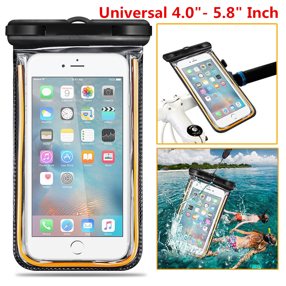 Universal 5.8'' Waterproof Case Diving Bag Pouch Bike Bicycle Mount Holder For iPhone/Samsung/Lonovo/Meizu/Xiaomi/LG/HTC/Sony