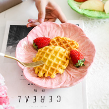 Cute Rabbit Cabbage Ceramic Plate Bowl Round Glaze Floral Porcelain Dinner Plate Steak Fruit Tray Salad Bowl Snack Dishes Plate cute bear head style baby dinner plate tray pink