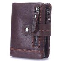 MISFITS Vintage Men Wallet Genuine Leather Short Wallets Male Multifunctional Cowhide Purse Coin Pocket Driver License Holder