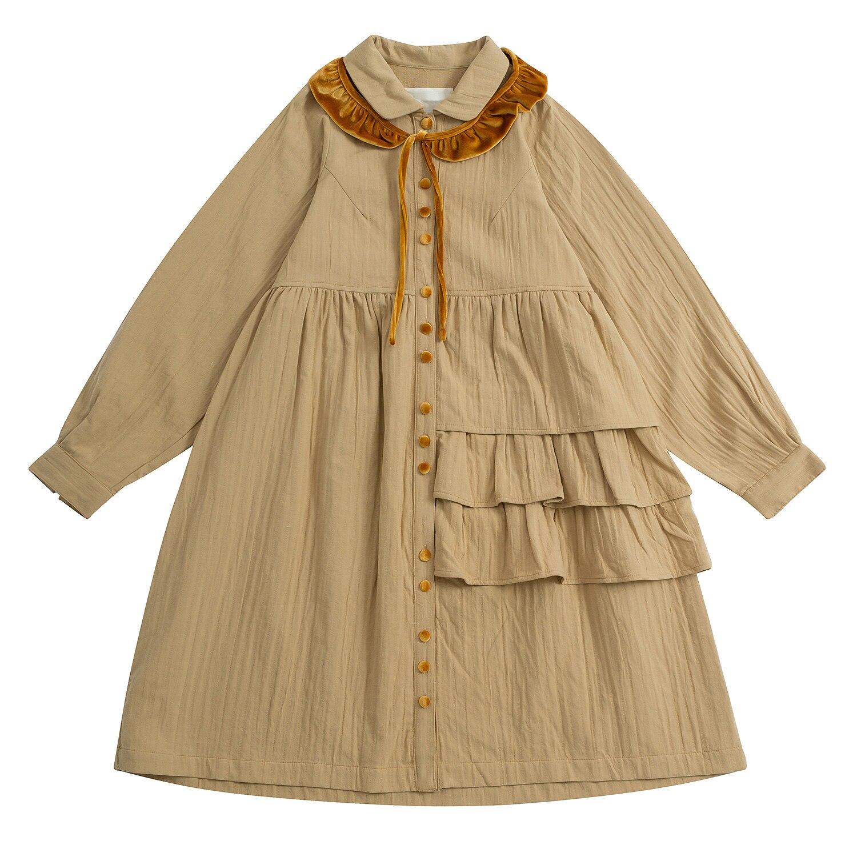Платье женское, винтажное, с длинным рукавом и отложным воротником women dress vintage dress vintagedress ruffle   АлиЭкспресс