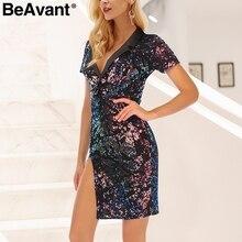 BeAvant Sexy clube sequin vestido de festa as mulheres se vestem 2018 Divisão bodycon vestidos vintage curto Turn-down collar vestido de inverno vestidos