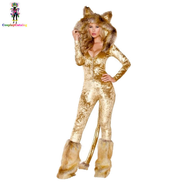 Furry Velvet Adult Women Halloween Costumes Adult Party Animal Sexy Lion  Costume Faux Fur Deluxe Long Sleeve Female Romper