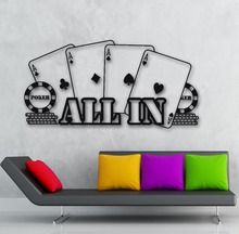 Free shipping Wall Vinyl Sticker Decal Poker Casino All In Player Gambler Cards free decoration Modern Design
