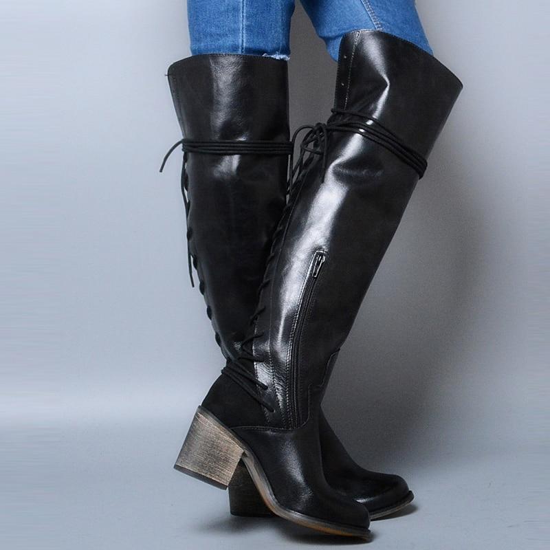Prova Perfetto cuero genuino botas de invierno sobre la rodilla tacón alto cuadrado espalda cruzada atada decoración estilo Punk botas de mujer-in Botas sobre la rodilla from zapatos    2