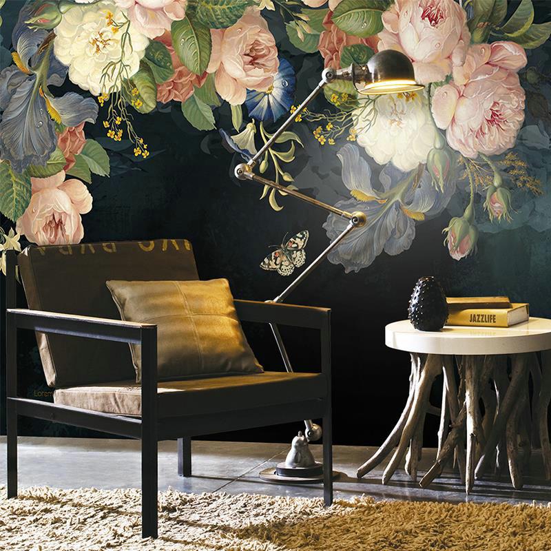 Custom 3D Wallpaper Silk Cloth Waterproof Canvas Murals Wall Painting Pastoral Floral Flower Oil Painting Black Mural Wallpaper 2