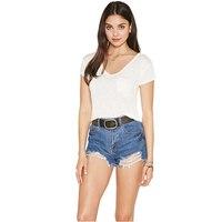 Mujeres De La Camiseta V Neck Short Sleeve 2016 Summer 3 Color Black White Grey Basic