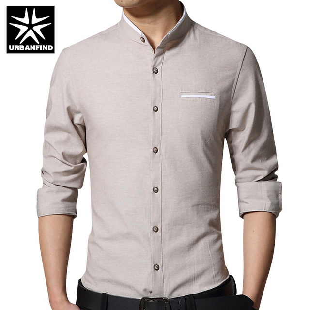 URBANFIND Solid Color Men Dress Shirts 4 Colors Large Size M-5XL Slim Fit Man Long Sleeve Shirts Good Brand Men Casual Tops