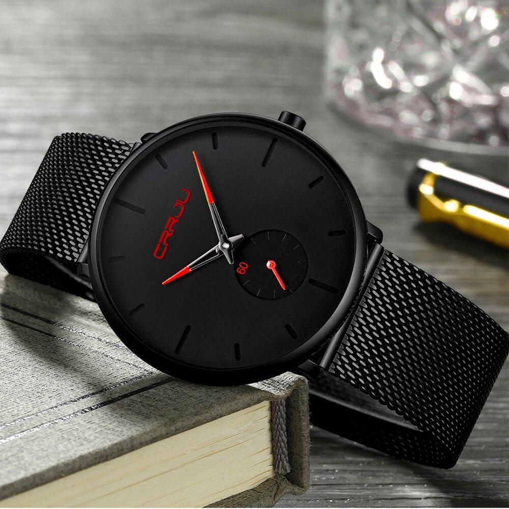 Crrju Fashion Black Men Watch Classic Casual Quartz Man Business Casual Sport Clock Unique Men Gift