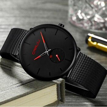 Reloj de pulsera Crrju de moda negro para hombre, Reloj clásico informal de cuarzo para hombre, reloj deportivo de negocios, reloj de pulsera de regalo único para hombre, reloj Masculino