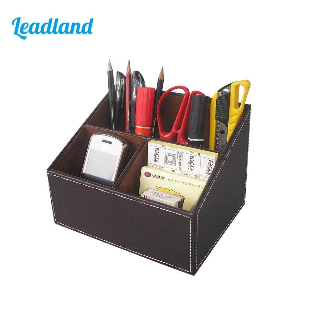 PU Leather Desktop Organizer Box Storage Box Case Pen Holder Sundries Box For Office Supplies A097 стоимость