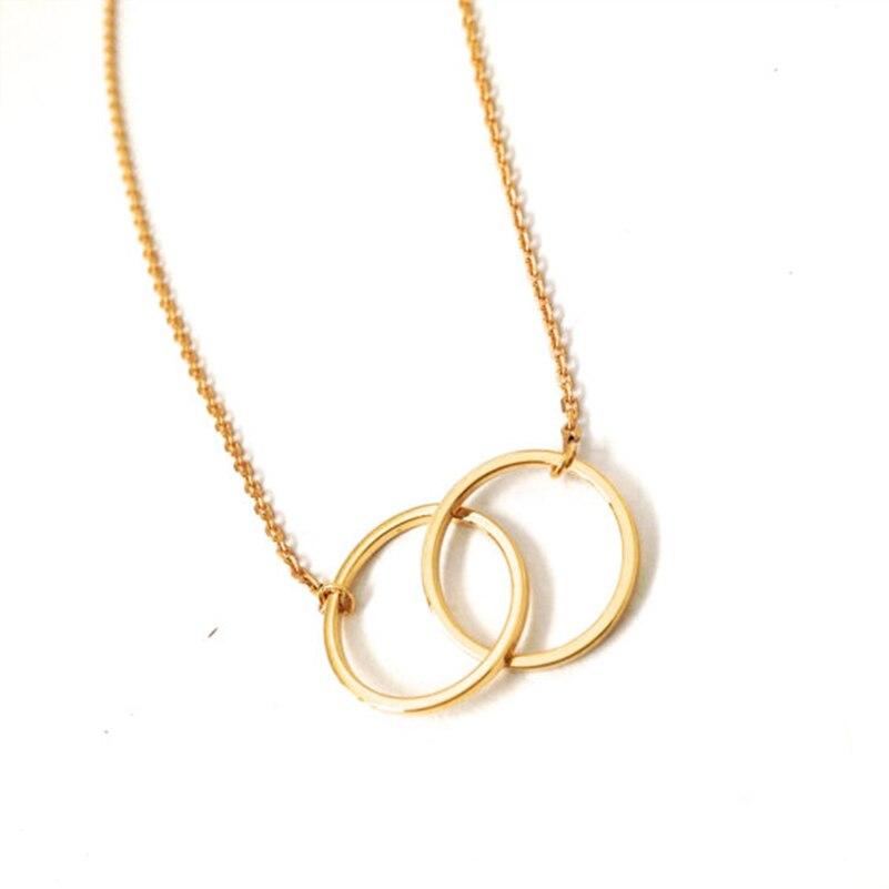 matériaux de qualité supérieure sortie en vente  € 1.0 42% de réduction Shuangshuo bohème infini colliers et pendentifs  Double cercles tour de cou pour filles entrelacé cercles pendentif collier  ...