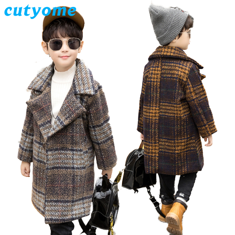 Winter Boys Overcoat 2018 Autumn New Fashion Toddler Kids Plaid Trench Coats Teenage Outerwear Warm Coat  Children  Clothes 8 12