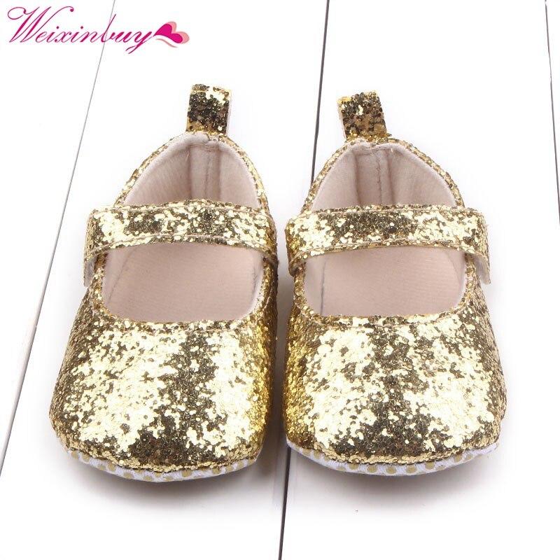 First Walker Toddler font b Baby b font Girls Cotton Sequin Infant Soft Sole Shoes Soft