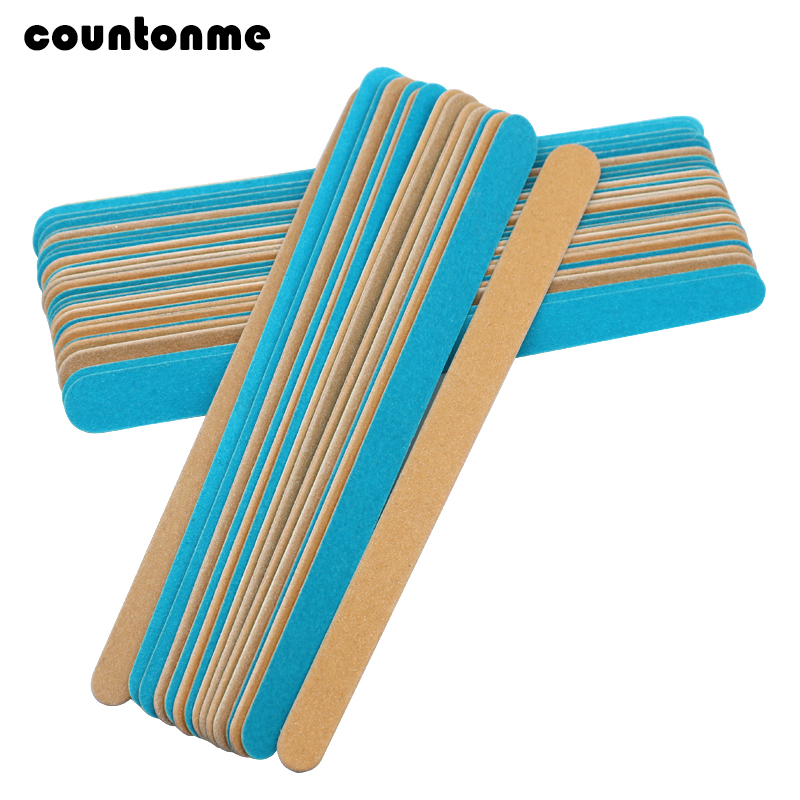 50Pcs/Lot Wooden Polishing File Sanding Nail File For Manicure Ultra-thin Wooden Nail Tool Professional Nail File Drop Shipping
