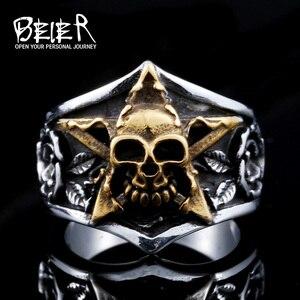 Байер мода черепа панк приливные джентльмен личность кольцо указательный палец пентаграмма человека Кольца BR8-425