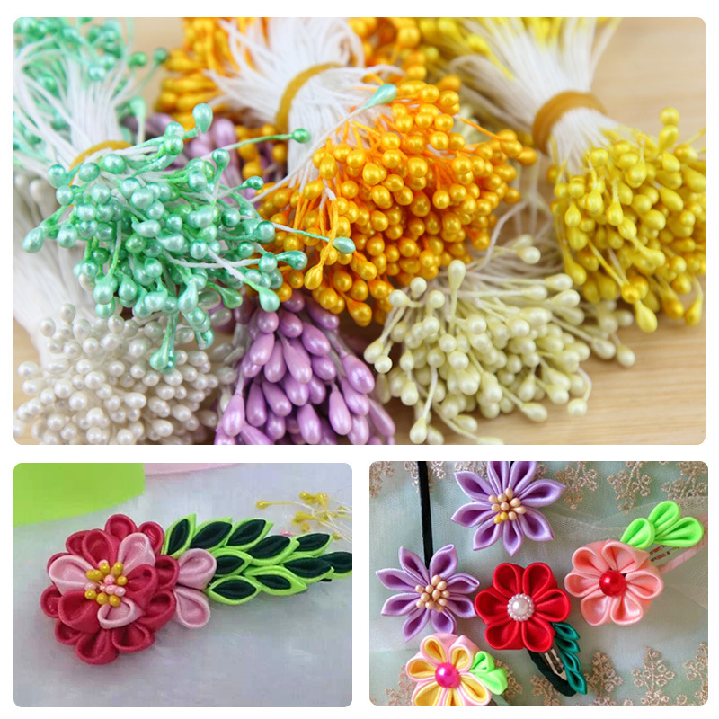 1 Bundle 150 Pieces Pearl Flower Stamen For Card Making Decoratiaon Perfect For DIY Craft Project Artificial Metal Flower