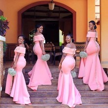 Long Bridesmaid Dresses Pink Mermaid Off The Shoulder Sleeveless Wedding Party Guest Gown robe demoiselle d'honneur
