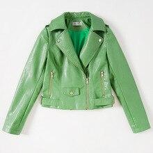 2017 New Spring  Fashion Street Leather Jacket Women Grass Green Slim Short Washed PU Leather Jackets Long Sleeve MF165201