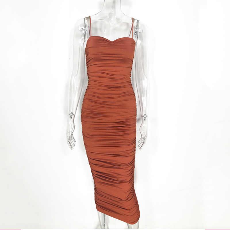Женское облегающее платье длинное Плиссированное сексуальное платье для ночного клуба коричневое миди вечерние летняя одежда слинг vestidos largos de fiesta de noche