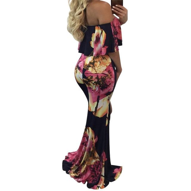 2019 Summer Long Dress Elegant Woman Vintage Print Dresses Bodycon Evening Party Femme Robe Ruffle Strapless Vestidos