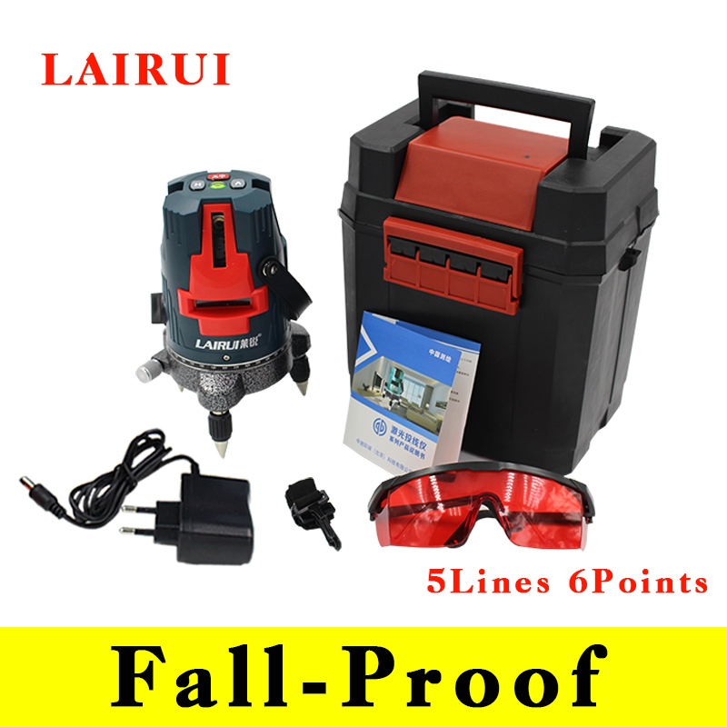 Fall Proof Lairui 5 lines 6 points laser level 360 degree rotary cross laser line level