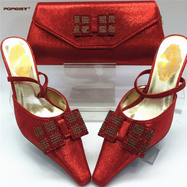 Fuchsia New Italian Ladies Shoes and Bags To Match Set Decorated with Rhinestone Shoe and Bag for Nigeria Party African Shoes