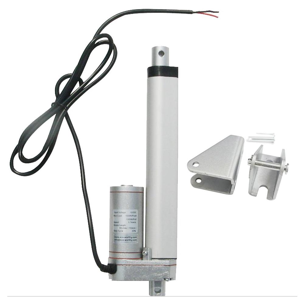 Aluminum Alloy Progressive Automations PA-06-2-180 Linear Actuator Stroke Size 2 Force 180 lbs Speed 0.47//sec 12 VDC