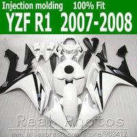 Injection molding fairings set for YAMAHA R1 fairing kit 2007 2008 white black plastic body kits 07 08 YZF R1 NB8