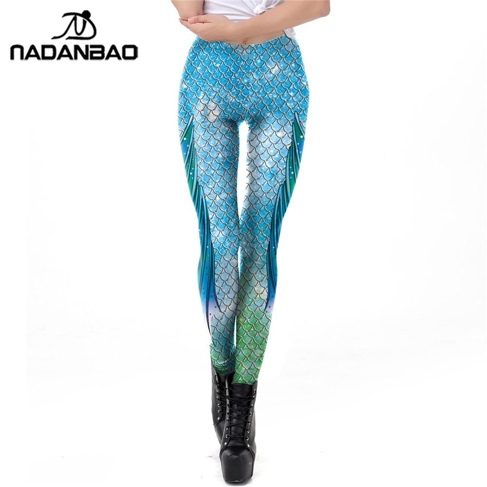NADANBAO Galaxy Mermaid Leggings Women Workout Fitness Legging Shiny Colorful Fish Scales Printed Leggins Plus Size