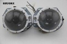 New White SHUOKE LED Lente Do Projetor Duplo Alto/Baixo Feixe LEVOU Lente Dupla 2.5 Polegada