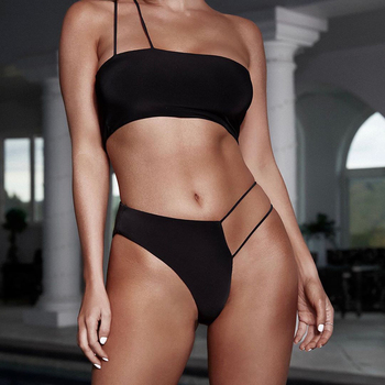 ZTVitality Sexy Black Bikinis 2019 New Arrival Padded Push Up Bikini Irregular Thong Swimsuit Swimwear Women Brazilian Biquini sexy bikinis solid push up bikini 2020 hot sale padded bra low waist swimsuit female swimwear women biquini