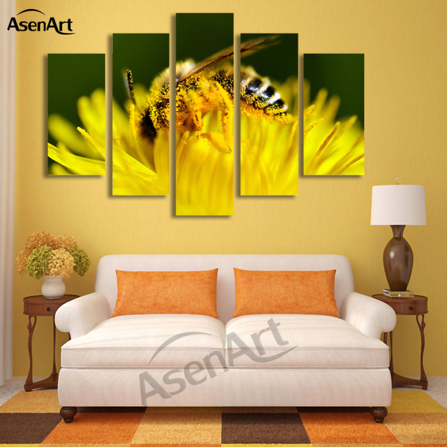 5 Panel Wall Art Canvas Prints Honey Bee Pictures Animal Painting ...