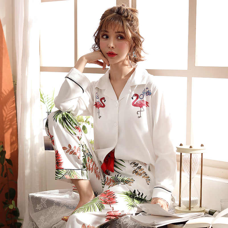 2011c9f816 Autumn Knitted Cotton Flamingo Pajamas Plus Size Sleepwear Women Long Sleeve  Lapel Button Top + Pants