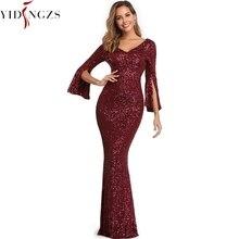 Бургундское вечернее платье с длинным рукавом YIDINGZS Элегантное Длинное платье русалки Формальное вечернее платье YD782